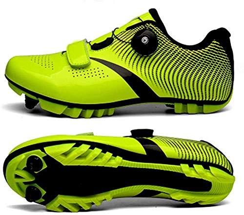 KUXUAN Zapatillas De Ciclismo MTB para Hombre,Zapatillas De Ciclismo De Montaña con Candados Zapatillas Deportivas De Invierno para Hombre Y Mujer/Suelas De Nailon,Green-EU37