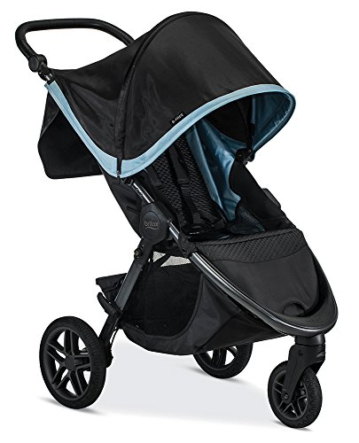 Britax B-Free Stroller, Frost | All Terrain Tires + Adjustable Handlebar + Extra Storage with Front Access + One Hand, Easy Fold