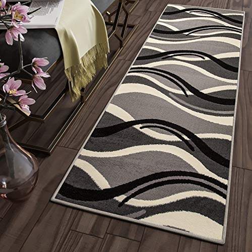 Tapiso Dream Alfombra de Pasillo Cocina Escalera Diseño Moderno Crema Gris Negro Abstracto Ondas Fina Suave 90 x 200 cm
