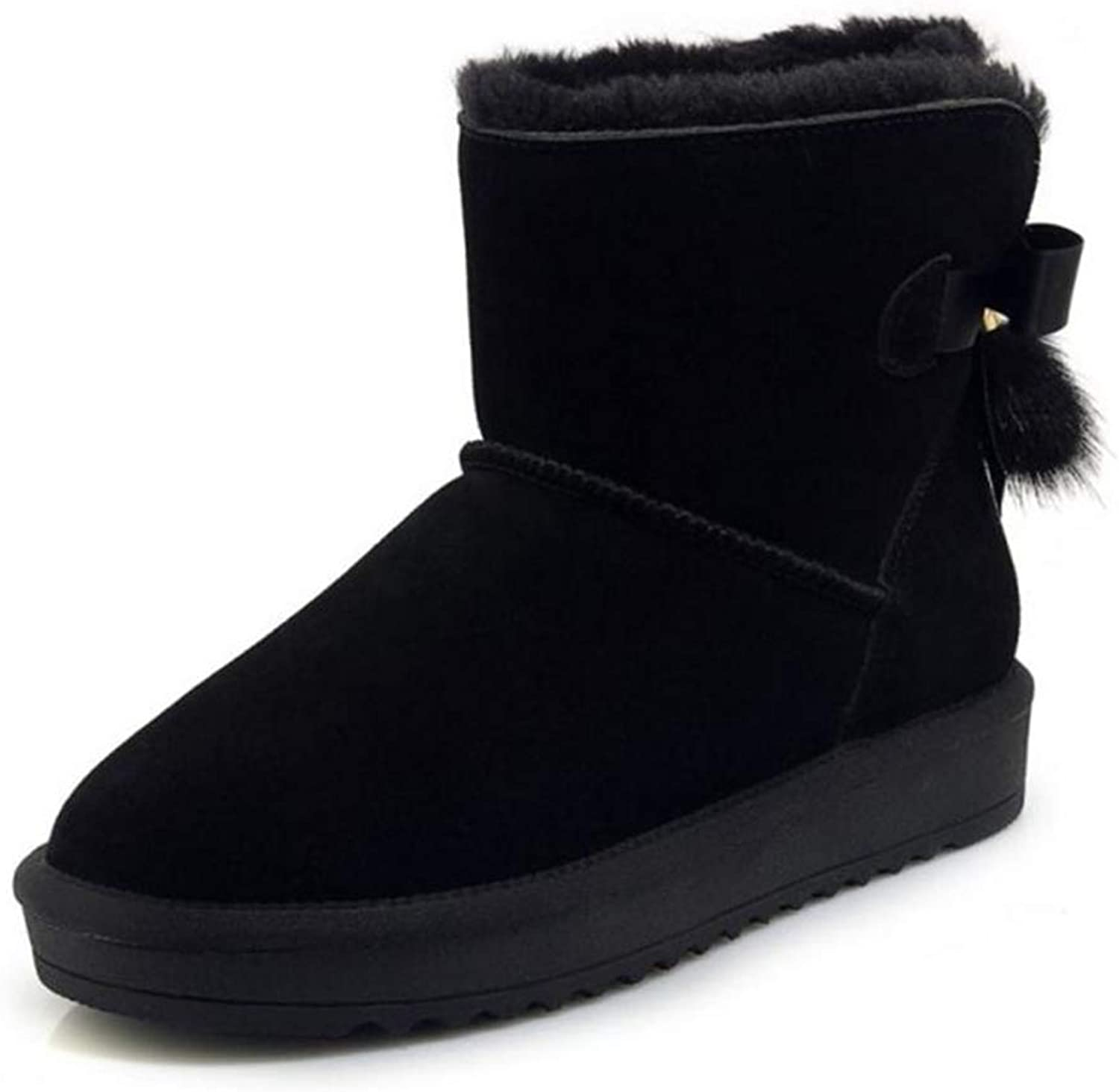 T-JULY Women's Winter Warm Ankle Snow Boots Real Leather Plush Fur Flats Round Toe shoes