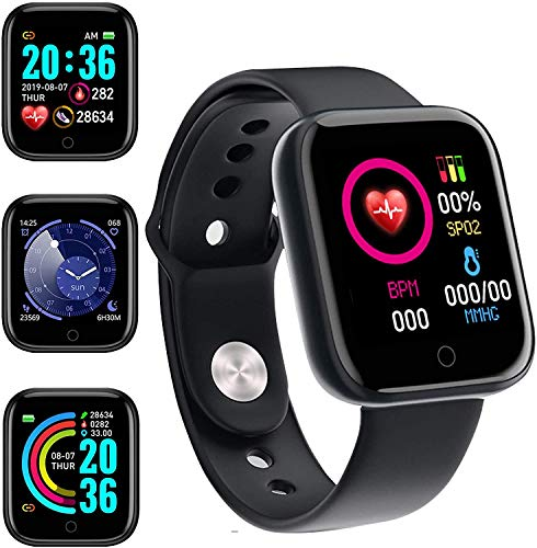 Smart Watch, Fitness Tracker with Heart Rate Monitor, Activity Tracker with 1.3 Inch Touch Screen,Waterproof,Sleep Monitor,Activity Tracker Pedometer for Women and Men,for iPhone Android (black-2021)