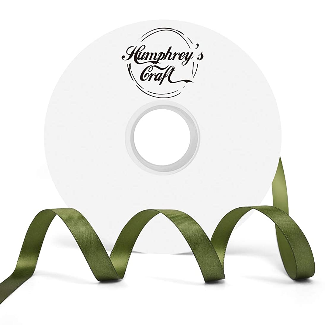 Humphrey's Craft 3/8-inch Double Face Solid Satin Ribbon 100% Polyester Ribbon Roll-50 Yard (Moss Green)