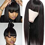 Liwihas Silky Brazilian Virgin Straight Human Hair Wigs with Bangs 130% Density None Lace Front Wigs Glueless Machine Made Wigs for Black Women Natural Color (18inch, Straight Wigs)