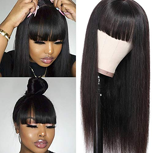 Liwihas Silky Brazilian Virgin Straight Human Hair Wigs with Bangs 130% Density None Lace Front Wigs Glueless Machine Made Wigs for Black Women Natural Color (16inch, Straight Wigs)