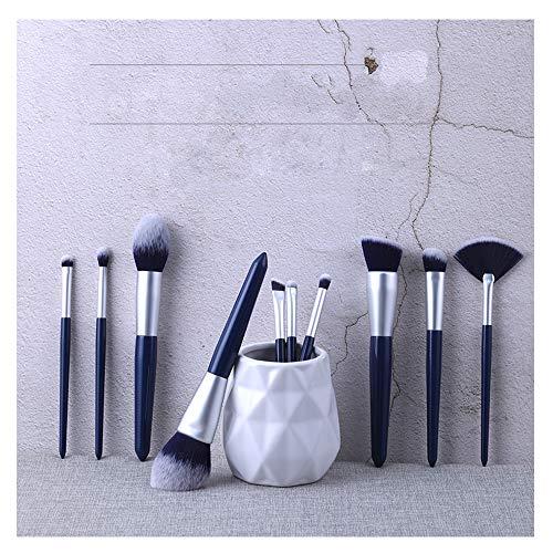 HJSMZ 10 Pièces Pinceaux De Maquillage, Professionnel de Fibres Synthétiques de Qualité Supérieure Kit Cosmétique Brush Idéal pour Un Usage Professionnel et Quotidien Pochette Elegante Sac en Toile