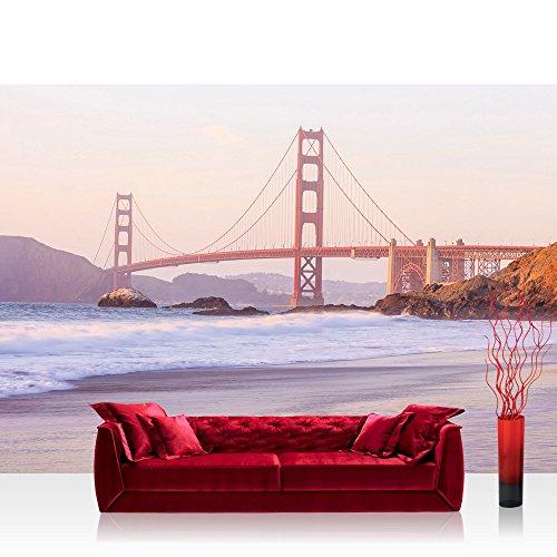 Vlies Fototapete 254x184cm PREMIUM PLUS Wand Foto Tapete Wand Bild Vliestapete - Brücken Tapete Golden Gate Bridge Strand natural - no. 3530