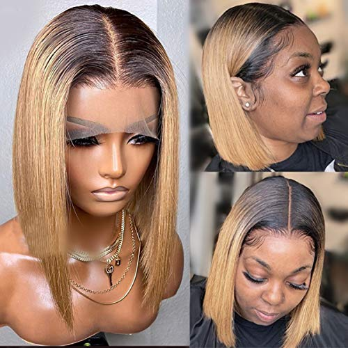 13X1 Middle Part Lace Front Human Hair Wig Straight Brown Honey Blonde Ombre Bob Wigs with Black Roots Pre Plucked Brazilian Virgin Hair Wigs with Baby Hair 150% Density Bleached Knots 14 Inch