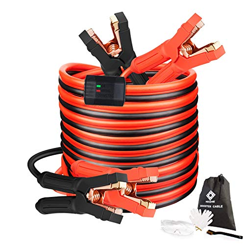 Booster Jumper Cable 4 Gauge x 20Ft 600AMP with Reverse Polarity Protection, Safety Gloves,Carry Bag