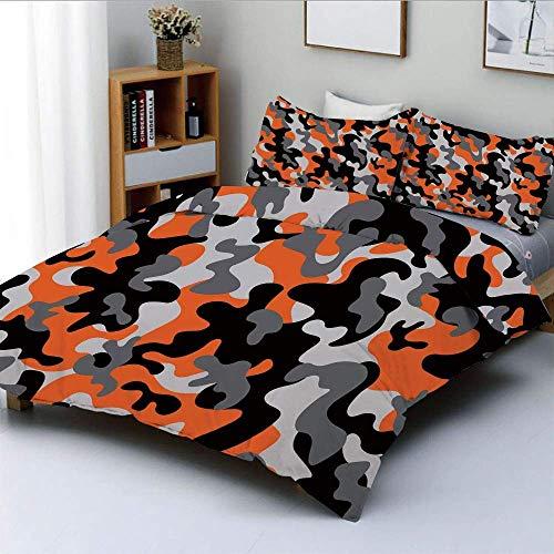 Juego de funda nórdica, entramado de camuflaje artístico vibrante como servicio militar, tema de combate, moderno, juego de cama decorativo de 3 piezas con 2 fundas de almohada, naranja gris negro, el