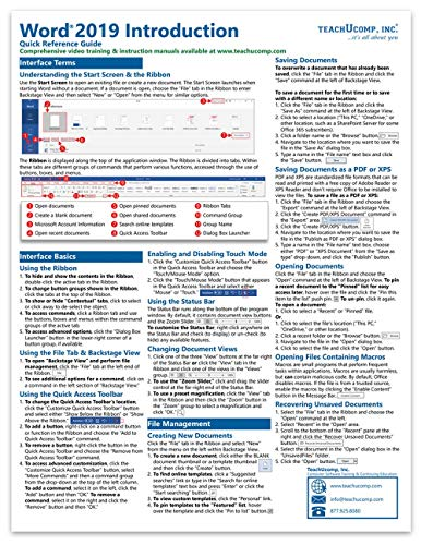 Microsoft Word 2019 Introduction Quick Reference Training Tutorial Guide (Cheat Sheet of Instructions, Tips & Shortcuts - Laminated Card)