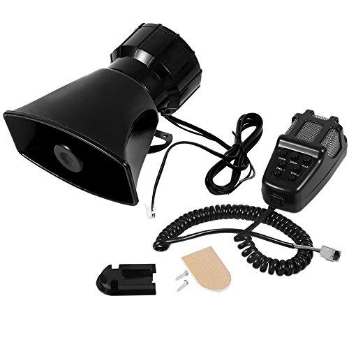 12V Auto Horn, 100W Laut Horn Sirene 7Ton sound Auto Polizei Sirene Horn mit Mikrofon PA Lautsprecher System für KFZ Boot Van Truck, Sound Level 110db-120db