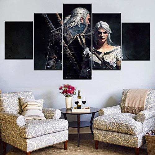 MOXIGE 5 Piezas Cuadros Decoracion Salon Modernos/Cuadros para Dormitorios Modernos Lienzos Decorativos Enmarcado Innovador Regalo El bujo Geralt-150 x 80 cm
