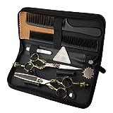 PYROJEWEL 6 Pulgadas de Corte de Pelo peluquería Profesional Tijera Plana + Diente de Tijera Tijeras de la manija Retro Set Tijeras (Color: Plata)