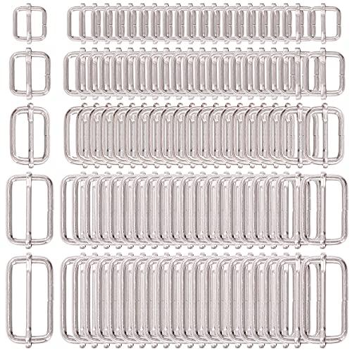 Swpeet 100 Pcs Metal Rectangle Adjuster Triglides Slides Buckle, Roller Pin Buckles Slider Strap Adjuster for Belt Bags DIY Accessories - 13mm / 15mm / 20mm / 25mm/ 35mm