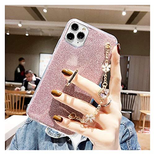 Funda Phone 12 Pulsera de Glitter casos de teléfono compatible con el iPhone 12 11 Pro Max 5 5S Se 6S 6 7 8 Plus X XS XR cubierta con el dedo anular suave transparente Capa Protección Del Teléfono