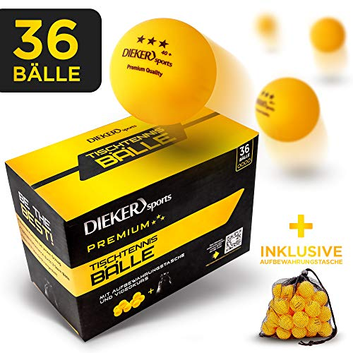 Dieker Sports® Premium Tischtennisbälle 3 Stern [36 Stück + Tasche] - inkl. Videokurs - erstklassige Spieleigenschaften - Nach ITTF Wettbewerbsrichtlinien - Perfekt für Anfänger, Profis und Familien