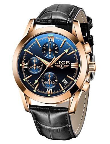 Reloj de Cuero LIGE para Hombre Reloj de Pulsera de Cuarzo analógico Reloj de Pulsera para Hombre Fecha Vestido de Negocios Reloj Deportivo Informal Impermeable para Hombre Negro Azul
