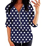 Janly Clearance Sale Tops de manga larga para mujer, mujer, tallas grandes, encaje, manga corta, cuello en O, blusa estampada para Pascua, regalos del Día de San Patricio (azul marino-5XL)