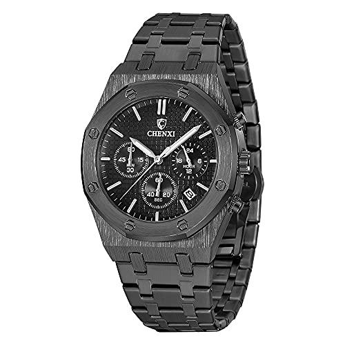 Reloj de pulsera para hombre, cronógrafo, pantalla analógica, mecanismo de cuarzo, deportivo, diseño empresarial, acero inoxidable, elegante y elegante reloj de pulsera para hombre
