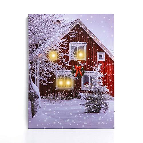 NIKKY HOME decorativo illuminato Snow House LED Wall Art stampe stampe su tela per decorazione di Natale