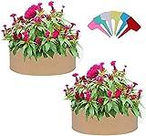 SDKFJ Bolsas de Cultivo Bolsa de Cultivo de Jardinera Redonda, 2 Piezas de Tela, Cama de plantación elevada, Bolsa de Cama de jardín con 6 Etiquetas de Plantas para Plantar Hierbas, Flores, vegetale