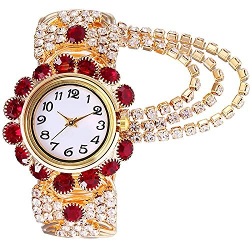 ML S HJDY Reloj Mujer Reloj Analógico De Cuarzo con Diamantes Reloj De Acero Inoxidable,Rojo