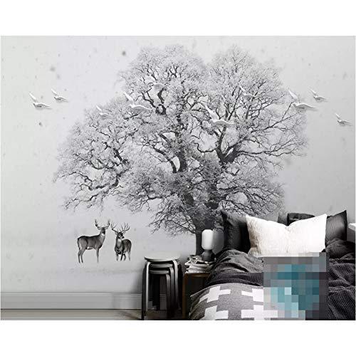GUDOJK muurschildering behang Scandinavisch minimalistisch zwart en wit sneeuw grote boom vliegen vogel huisdecoratie TV achtergrond 3d muur paperWoonkamer slaapkamer wanddecoratie 100x150cm