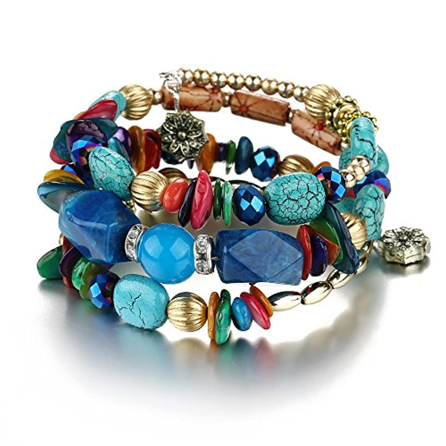 Setita Bohemia Turquoise Bracelet Crystal Bead Bangles for Women Girls