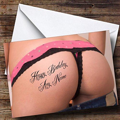 Grappige Sexy Bum Tattoo Gepersonaliseerde Verjaardagskaart