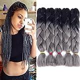 Liyate Jumbo Braiding Hair Crochet Box Braids 5 Packs/Lot Two Tone Ombre Crochet Braids Synthetic Hair Extensions 24 Inch 100G/Pc (Black-Grey)
