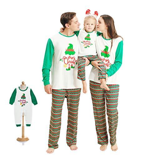 Pijamas de Navidad a Juego con La Familia Pjs Ropa de Dormir de Navidad Ropa de Dormir Ropa de Casa Camiseta Tops + Pantalones Largos a Rayas Papá Mamá Niño