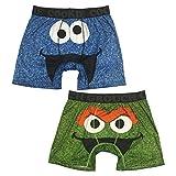 Sesame Street Men's 2-Pack Character Boxer Brief Sleep Shorts, Oscar The Grouch & Cookie Monster, Medium