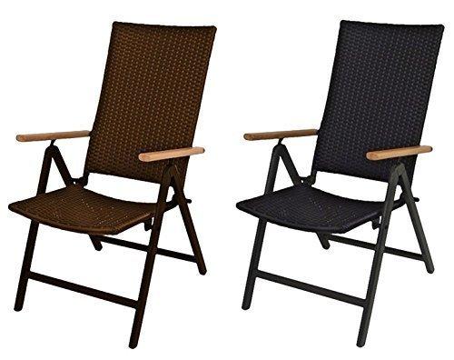 1a-Handelsagentur Alu-Klappsessel Serra braun oder schwarz Sessel Gartenstuhl Relax-Gartensessel, Farbe:braun