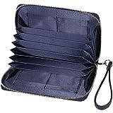 BLUE SINCERE 通帳ケース 磁気防止 大容量 カード12枚収納 通帳入れ 革 レザー レディース RFID パスポートケース カードケース 小銭も入る 財布 TC1(ネイビー)