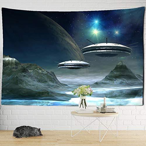 N/A Tapisserie Raum Raumschiff Interstellare Wandteppich Alien Invasion Druck Wandbehang Böhmische Wandteppich Wand Schlafsaal Dekoration Druck Wandbehang Mandala Wohnzimmer