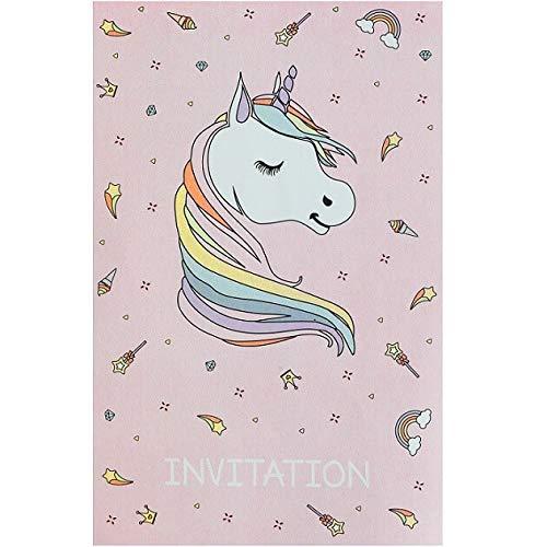 Carte invitation anniversaire Licorne rose et blanche (x6) R/6726