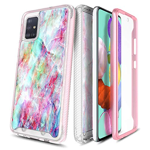 E-Began Phone Case for Samsung Galaxy A51 [Not Fit A51 5G Version], Full-Body Protective Rugged Matte Bumper Cover with Built-in Screen Protector, Marble Design Shockproof Impact Durable Case -Fantasy