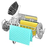 Qodalyth 5 in 1 Sponge Holder for Kitchen Sink More Functions Sink Caddy with A Space-Saving Size, More Stable Stainless Steel Kitchen Sink Sponge Holder