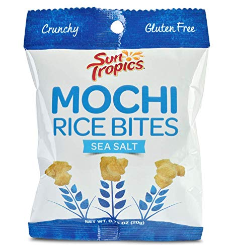 Sun Tropics Mochi Snack Bites, Sea Salt, .75 Oz (24 Pack), Gluten Free, Snack Size, Vegan, No MSG Added, Dairy Free, Crunchy Snack