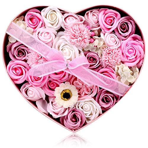 UINI BEST フラワーソープ 石鹸の花 ソープフラワー 枯れないお花 プレゼント 花 母の日 花束… (ダークピンク)