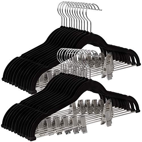 SONGMICS 30 st. broekhanger, 42,5 cm Fluwelen kleerhanger met verstelbare clips, heavy duty, anti-slip en ruimtebesparend, voor broeken, rokken, jassen, jurken, bandtops, zwart CRF12B-30