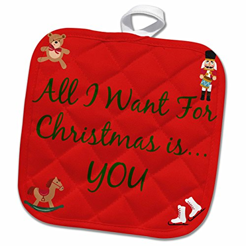 3D Rose All I Want for Christmas is You Green Lettering with Pictures of Toys Pot Holder, 8 x 8