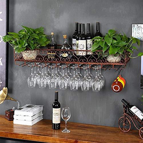 Soporte para Botellas De Vino Montado En La Pared, Botellero, Vaso para Botellas De Vino De Metal Y Vidrio, Soporte para Vasos Y Estante para Bares, Restaurantes, Cocinas,Bronzo,60 * 25cm