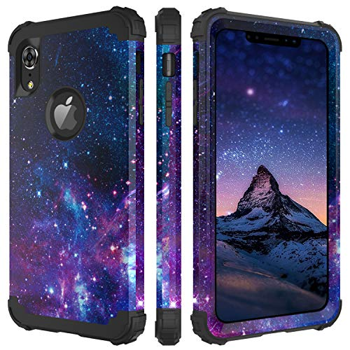 BENTOBEN iPhone XR Case, iPhone Xr Case Purple Space, 3 in 1 Heavy Duty Slim Nebula Galaxy Design Hybrid Hard PC Back Cover Soft Silicone Bumper Full Body Protective Phone Cases for iPhone XR, Space