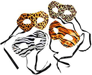 Zoo Animal Safari Print Costume Masks, Pack of 12 Assorted Designs, Great Birthday Party Supplies for Kids Brown
