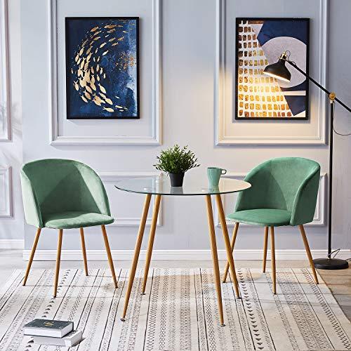 IPOTIUS Esstisch Rund 80cm Glas Esszimmertisch für 2 4 Personen,Küchentisch Couchtisch mit Metallbeine Eichenfinish,80x74cm Transparent