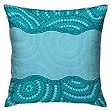 Seafoam Square Funda de almohada para niños Patrón ondulado de puntos con diseño aborigen australiano Tribal Kakadu Teal Seafoam Azul petróleo Fundas de cojines Fundas de almohada para sofá Dormitorio