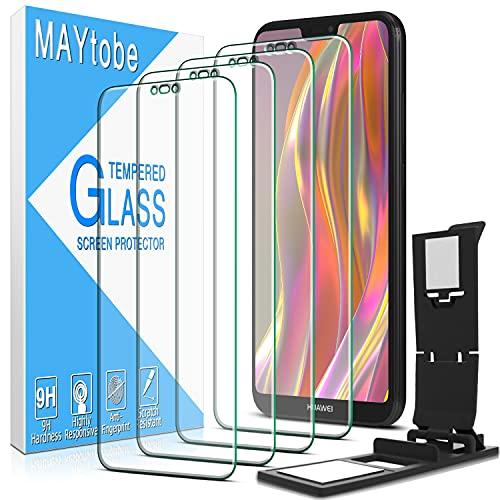 MAYtobe [4 pezzi] Huawei P20 Lite Vetro temperato, Pellicola proteggi schermo [Anti-graffio] [Senza bolle] [Durezza 9H] [Nessuna impronta digitale] [HD Clear]
