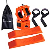 HarderWill Deadlift Jack, 2 inch Olympic Barbell Clamps and Lifting Straps Set Easy to Change Plates, Perfect for Home Gym, Deadlift, Crossfit, Powerlifting, Weightlifting for Your Gym Bag