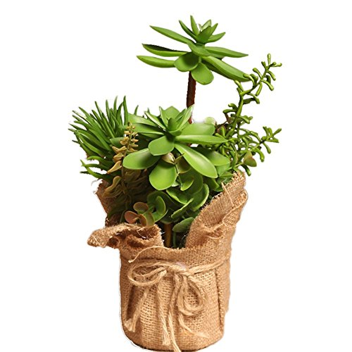 Outflower Suculentas de simulación Simulación de Plantas estilo pastoral pequeño bonsai pote cáñamo plantas de interior salón decoración de las mesas Simulación de la decoración vegetal,Verde,25*14cm